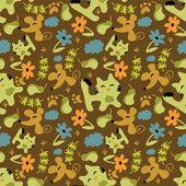 可爱幼稚无缝模式与动物和自然元素 — 图库矢量图片