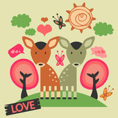Two cute deers in love on the meadow — Stock Vector