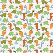 Stock Vector: Seamless pattern with cute dinosaurs