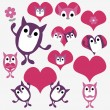 Stock Vector: Valentine set with cute animal creatures
