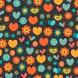 Colorful seamless pattern with hearts and flowers — Stock Vector