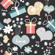Sweet seamless pattern with romantic elements - Stok Vektör