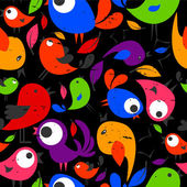 Seamless pattern with beautiful colorful birds — Stock Vector
