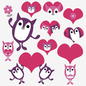 Valentine set with cute animal creatures — Stock Vector