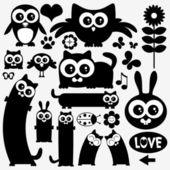 Black silhouettes of cute animals. Stickers design — 图库矢量图片