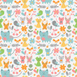 Cute childish seamless pattern with baby animals — Vecteur #15740617