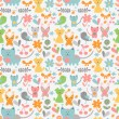 Cute childish seamless pattern with baby animals — Image vectorielle