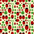 Cute seamless pattern with ladybirds and leaves — Stock Vector #15740625