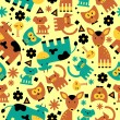 Seamless pattern with cute funny animals — Stock Vector