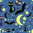 Stock Vector: Cute seamless pattern. Night life, cats and bats