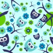 Seamless pattern with cute funny owls — Stock Vector