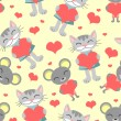 Cute romantic seamless pattern cat and mouse — Stock Vector