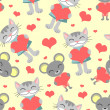 Cute romantic seamless pattern cat and mouse — Stock Vector #15740799