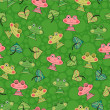 Seamless pattern with cute frogs - Stock Vector