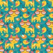 Cute childish seamless pattern with animals — Image vectorielle