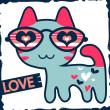 Romantic illustration of cute kitty in glasses — Stock Vector