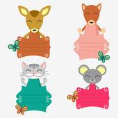 набор декоративных рамок с милые животные — Cтоковый вектор