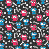 Seamless pattern with funny cats and dogs — Stock Vector