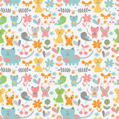Cute childish seamless pattern with baby animals — Vecteur
