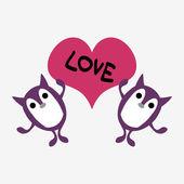 Linda criaturita sosteniendo un corazón — Vector de stock