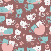 Cats in love cute seamless pattern — Stock Vector