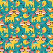 Cute childish seamless pattern with animals — Stock Vector