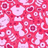 Sladký bezešvé pattern roztomilá zvířata a romantické prvky — Stock vektor