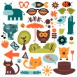 Set of cute various elements for design - Stock Vector