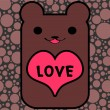 Cute bear holding a heart — 图库矢量图片