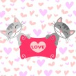 Two cute kittens in love — Stok Vektör