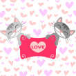 Stock Vector: Two cute kittens in love
