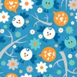 Seamless pattern with cute birds and flowers — Stock Vector