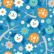 Stock Vector: Seamless pattern with cute birds and flowers