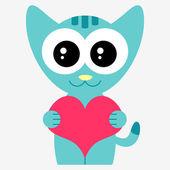 Romantic illustration with cute little kitty — Stock Vector