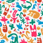 Seamless pattern with cute monster animals — Stock Vector