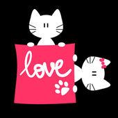 Romantic illustration of two kittens — Stock Vector