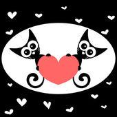 δύο γατάκια, κρατώντας μια εικόνα ρομαντική καρδιά — Διανυσματικό Αρχείο