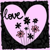 Romantiska illustration med hjärta och blommor — Stockvektor