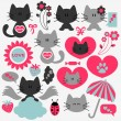 Stock Vector: Two cute cats in love set of elements