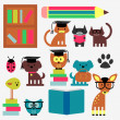 Set of cute animal students studying — Stock Vector #18024575