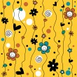 Cute childish seamless background with flowers — Stok Vektör