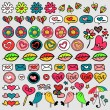 Set of cute doodle elements hearts and flowers — Stock Vector