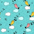 Royalty-Free Stock Vector Image: Cute seamless pattern with birds on clouds