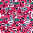 Cute seamless pattern with cats and flowers — Stock Vector
