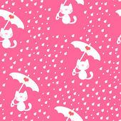 Seamless pattern with cute kitties under the rain — Stock Vector