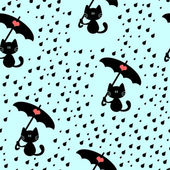 Seamless pattern with cute kitties under the rain — Stock Vector