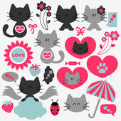 Two cute cats in love set of elements — Stock Vector