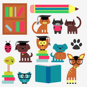 Set of cute animal students studying — Stock Vector