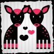 Two fawns in love romantic illustration — Stock Vector