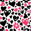 Seamless pattern with cute hearts — Stock Vector #18718425